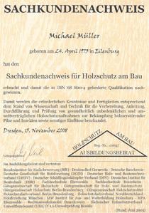 Sachkundenachweis für Holzschutz am Bau erbracht in Dresden am 15.11.2008