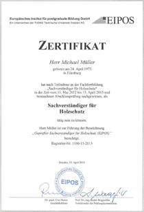 Geprüfter Sachverständiger für Holzschutz bei Eipos in Dresden am 13.04.2013
