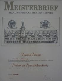 Meisterbrief im Zimmererhandwerk erworben in Leipzig am 24.08.1999